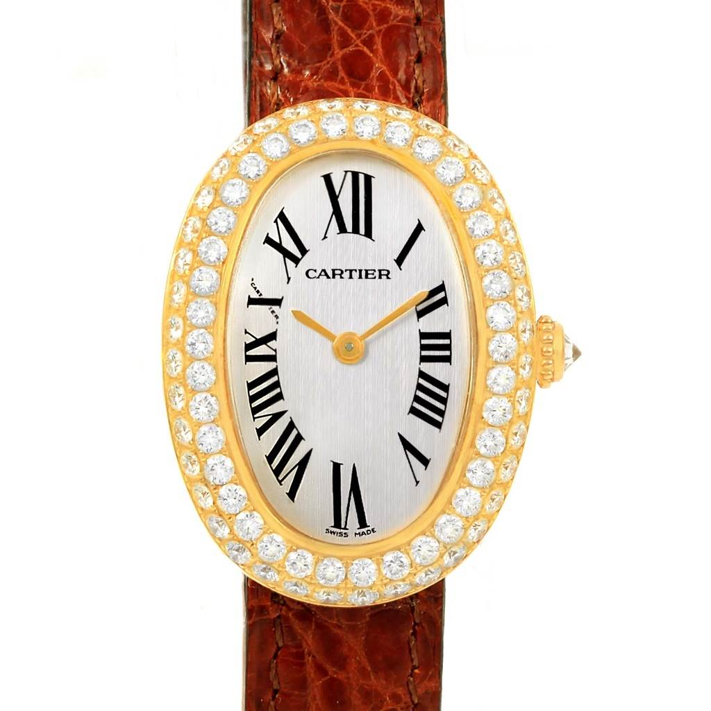 15055 Cartier Baignoire 18K Yellow Gold Diamond Ladies Watch 1954 SwissWatchExpo