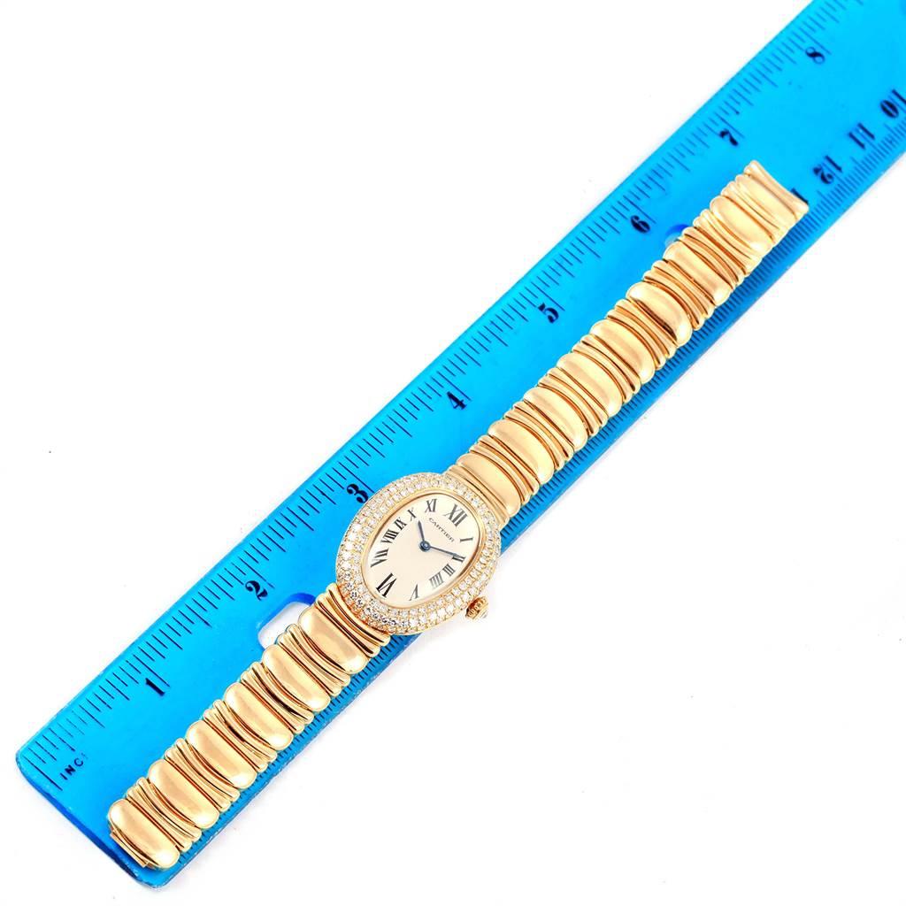 16087P Cartier Baignoire Joaillerie 18K Yellow Gold Diamond Ladies Watch 1950 SwissWatchExpo