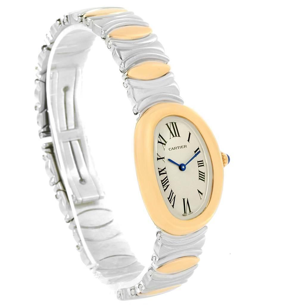 Cartier Baignoire Ladies Steel 18k Yellow Gold Watch W15045D8 SwissWatchExpo