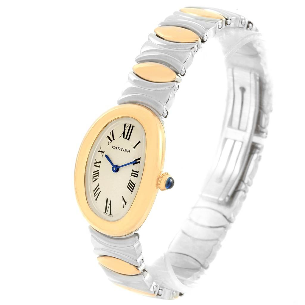 cartier baignoire ladies steel 18k yellow gold watch w15045d8. Black Bedroom Furniture Sets. Home Design Ideas
