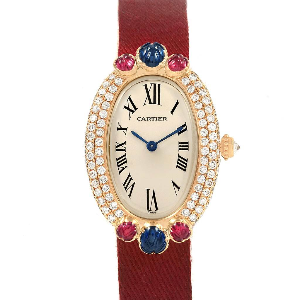 Cartier Baignoire Tutti Frutti Yellow Gold Ruby Sapphire Diamond Watch SwissWatchExpo
