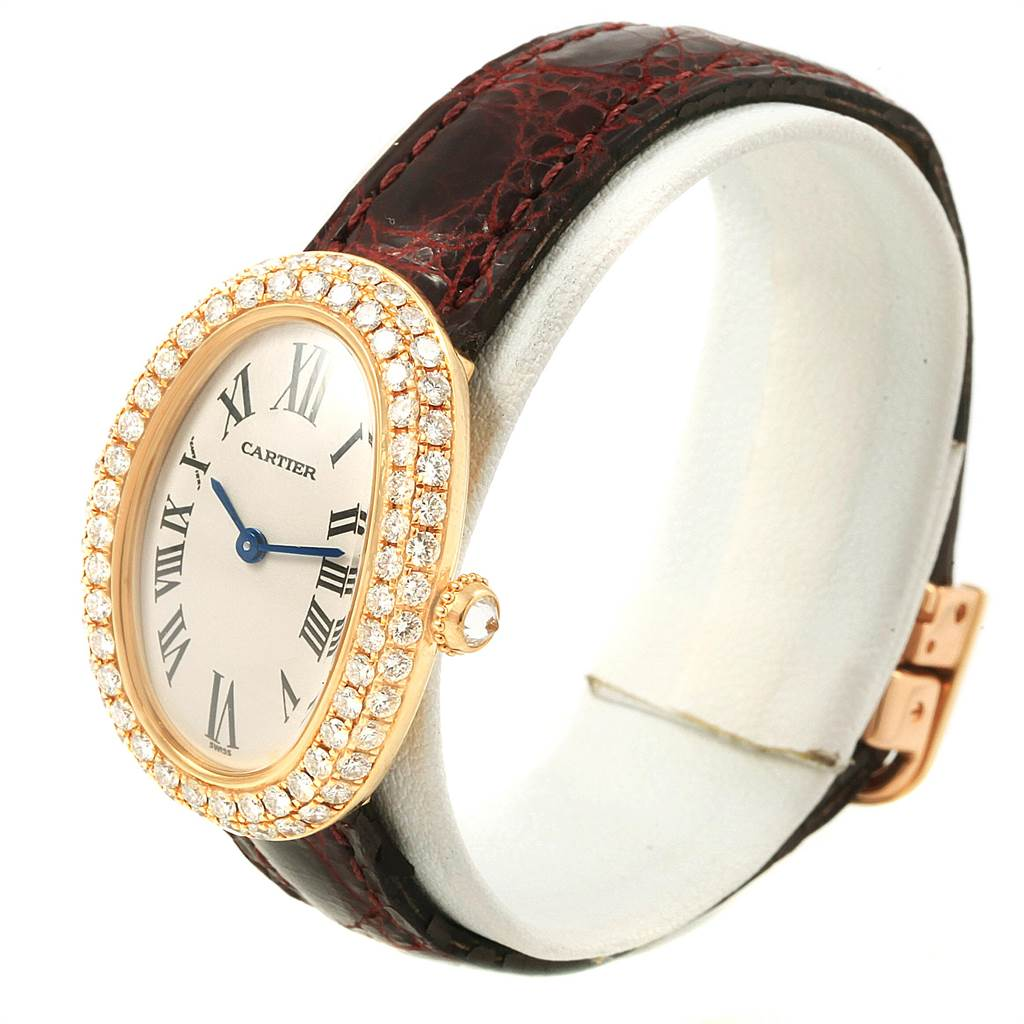 21626 Cartier Baignoire Burgundy Strap Yellow Gold Diamond Ladies Watch 1954 SwissWatchExpo