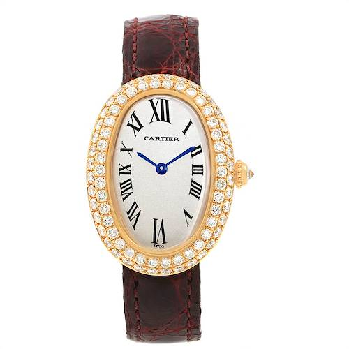 Photo of Cartier Baignoire Burgundy Strap Yellow Gold Diamond Ladies Watch 1954