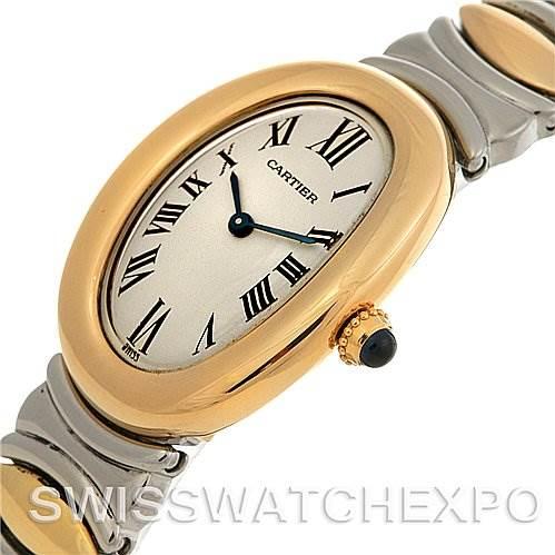 2510 Cartier Baignoire Ladies Steel 18k Yellow Gold W15045d8 Watch SwissWatchExpo