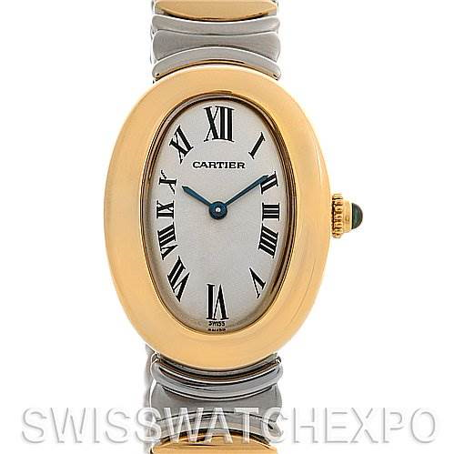 Cartier  Baignoire Ladies Ss & 18k Yellow Gold W15045D8 SwissWatchExpo