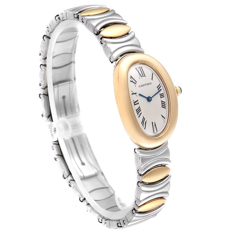 Cartier Baignoire 18k Yellow Gold Steel Ladies Watch W15045D8 SwissWatchExpo