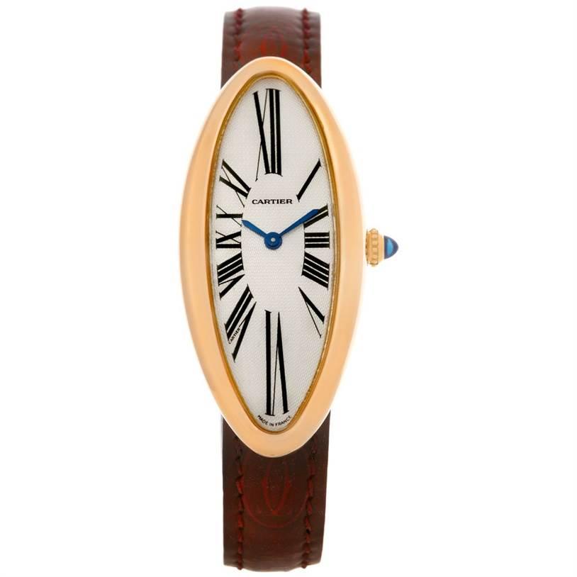 Cartier Baignoire Allongee Mecanique 18K Rose Gold Ladies Watch SwissWatchExpo