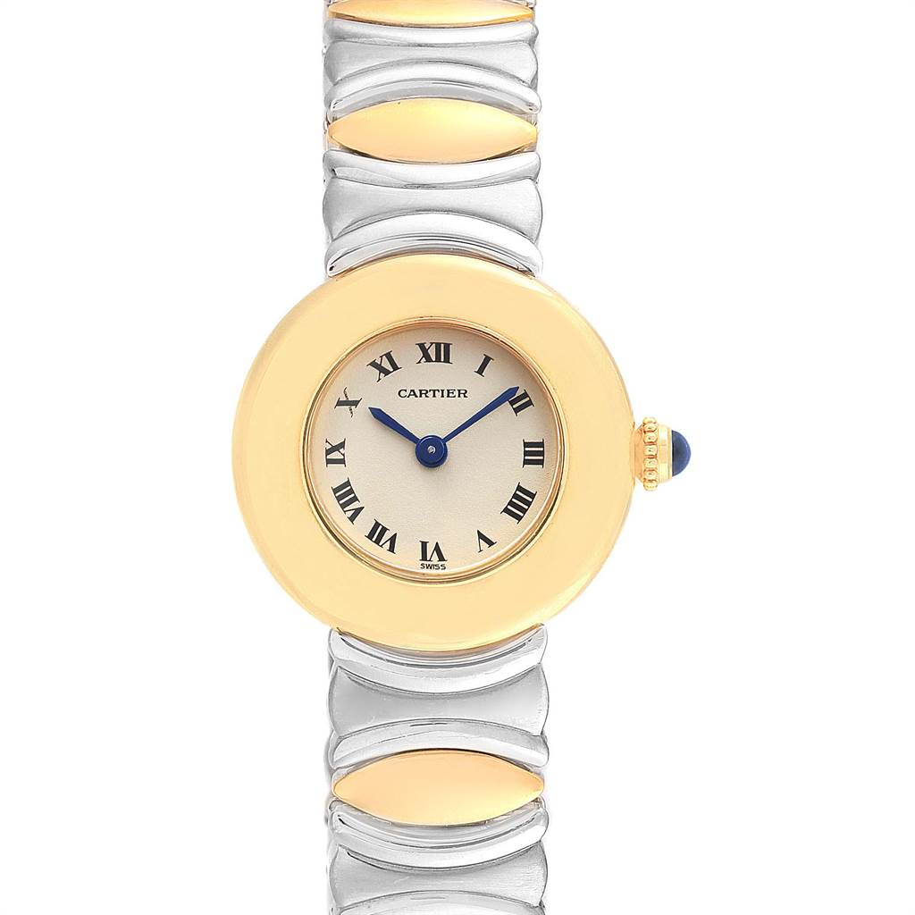 5725 Cartier Baignoire Ladies Stainless Steel 18k Yellow Gold Watch SwissWatchExpo