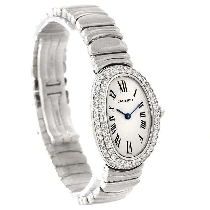 cartier baignoire ladies 18k white gold diamond watch wb5097l2. Black Bedroom Furniture Sets. Home Design Ideas
