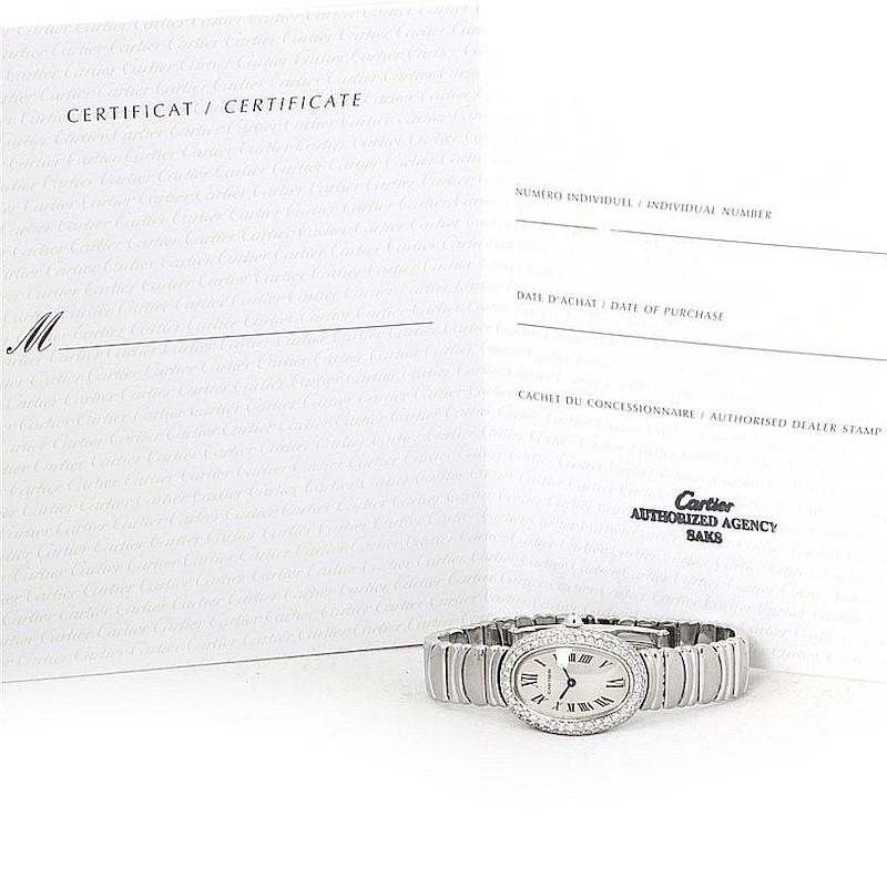 Cartier Baignoire Ladies 18k White Gold Diamond Watch WB5097L2 SwissWatchExpo