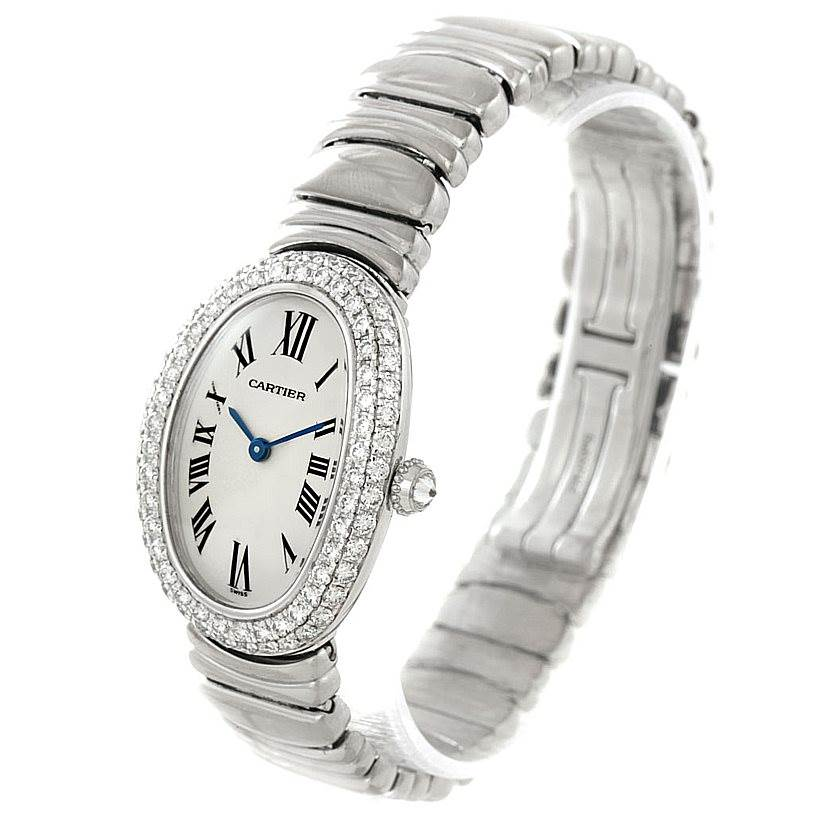 7851 Cartier Baignoire Ladies 18k White Gold Diamond Watch WB5097L2 SwissWatchExpo