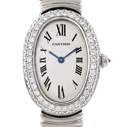 Photo of Cartier Baignoire Ladies 18k White Gold Diamond Watch WB5097L2