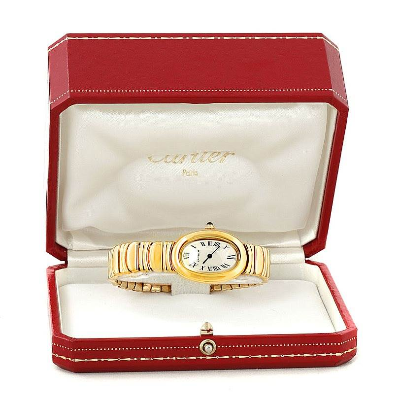 8002 Cartier Baignoire 18k Yellow Gold Ladies Watch W15045D8 SwissWatchExpo