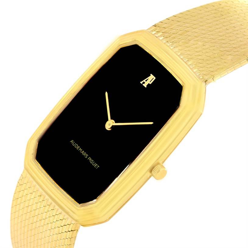 8938 Audemars Piguet 18K Yellow Gold Black Dial Manual Winding Watch 4013 SwissWatchExpo