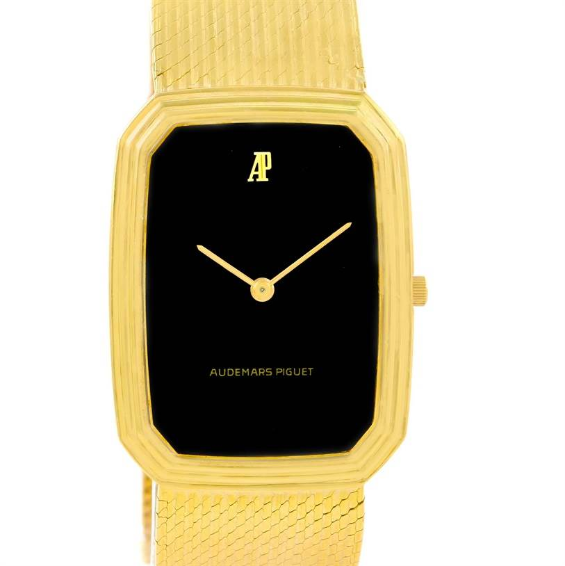 Audemars Piguet 18K Yellow Gold Black Dial Manual Winding Watch 4013 SwissWatchExpo