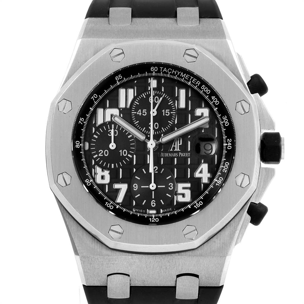 21843 Audemars Piguet Royal Oak Offshore Black Dial Chronograph Watch 26170ST SwissWatchExpo