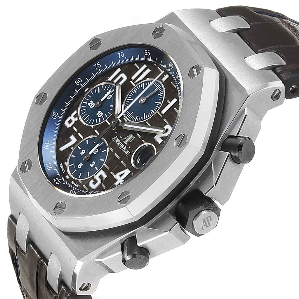 22581 Audemars Piguet Royal Oak Offshore Brown Dial Chronograph Watch 26470ST SwissWatchExpo