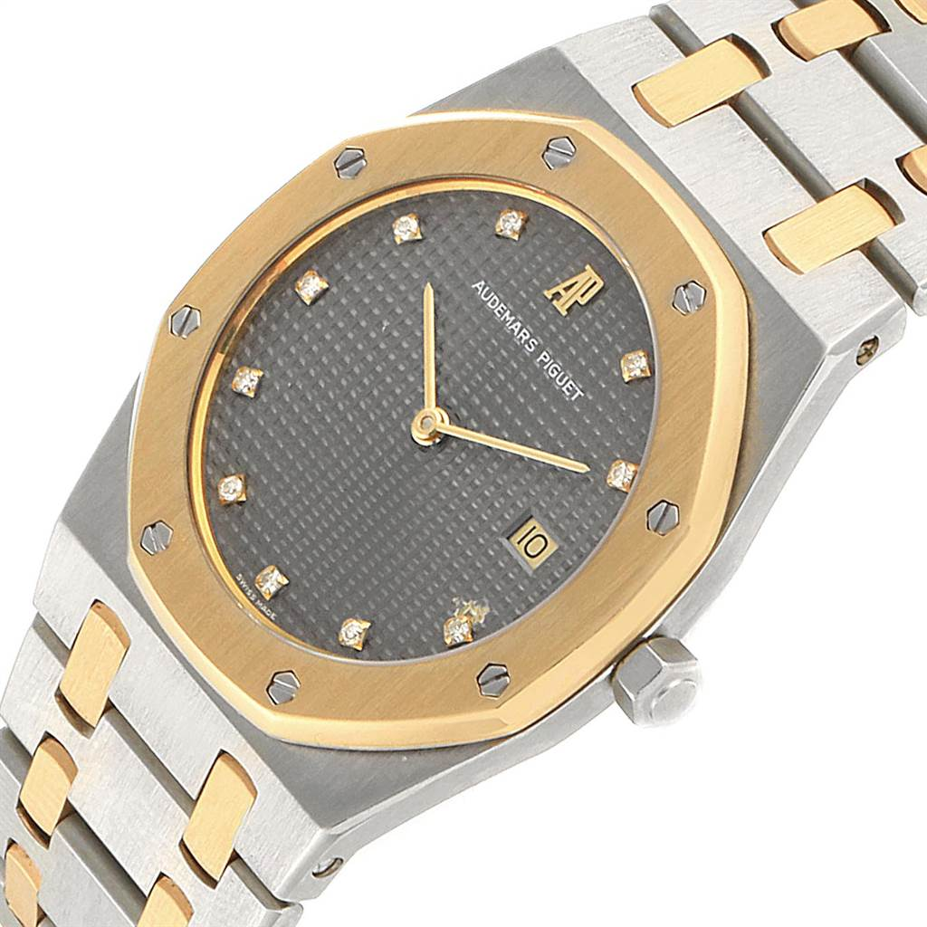 22700 Audemars Piguet Royal Oak 33mm Grey Dial Steel Yellow Gold Mens Watch SwissWatchExpo