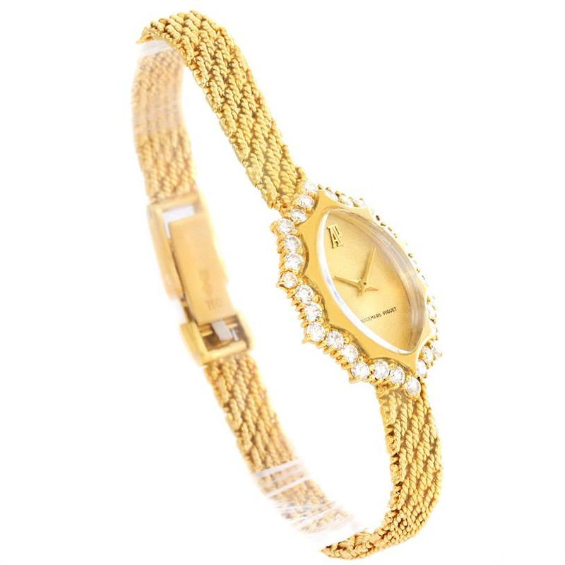 Audemars Piguet Vintage 18k Yellow Gold 1.67 Ct Diamond Cocktail Watch SwissWatchExpo
