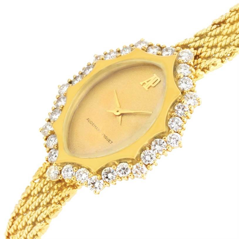 2558 Audemars Piguet Vintage 18k Yellow Gold 1.67 Ct Diamond Cocktail Watch SwissWatchExpo