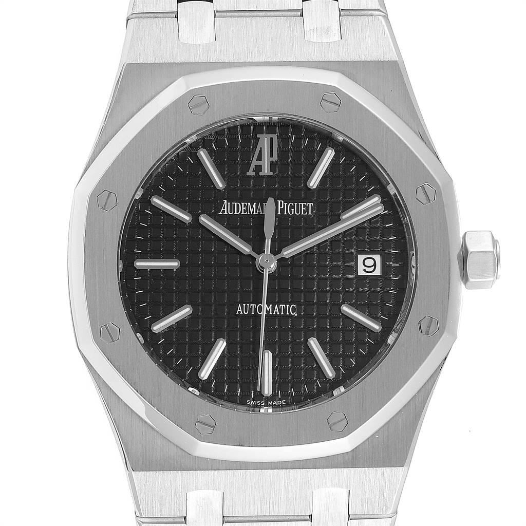 Audemars Piguet Royal Oak Black Dial Steel Mens Watch 15300 SwissWatchExpo