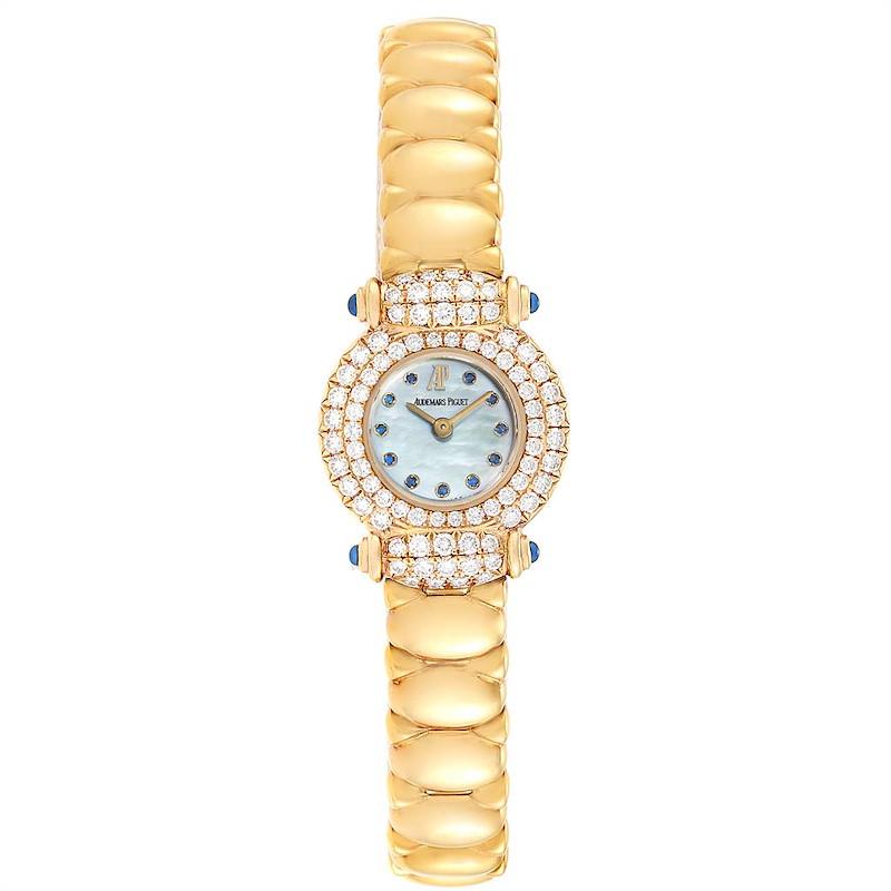 Audemars Piguet Yellow Gold MOP Diamond Sapphire Ladies Watch SwissWatchExpo