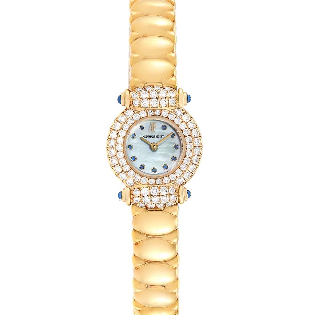 25513 Audemars Piguet Yellow Gold MOP Diamond Sapphire Ladies Watch SwissWatchExpo