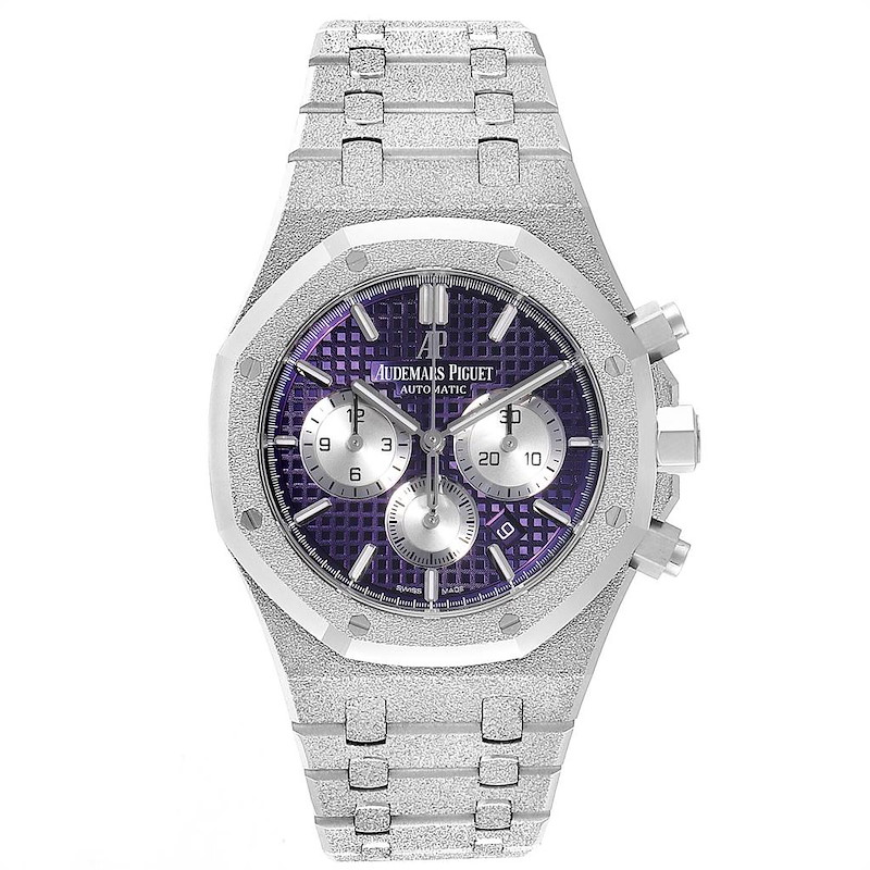 Audemars Piguet Royal Oak Purple Dial White Frosted Gold Watch 26331BC SwissWatchExpo