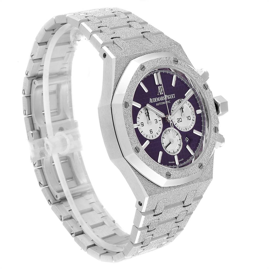 25942 Audemars Piguet Royal Oak Purple Dial White Frosted Gold Watch 26331BC SwissWatchExpo