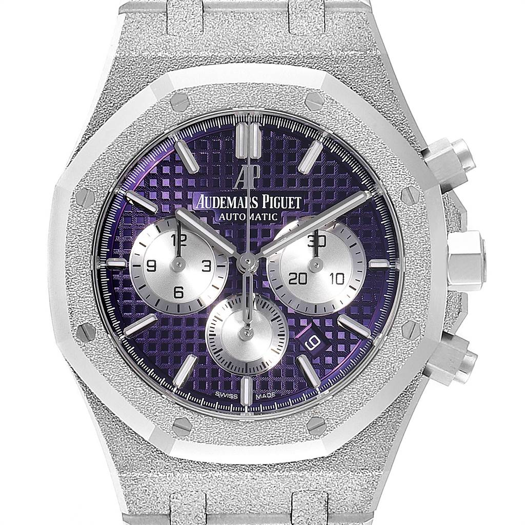 Photo of Audemars Piguet Royal Oak Purple Dial White Frosted Gold Watch 26331BC
