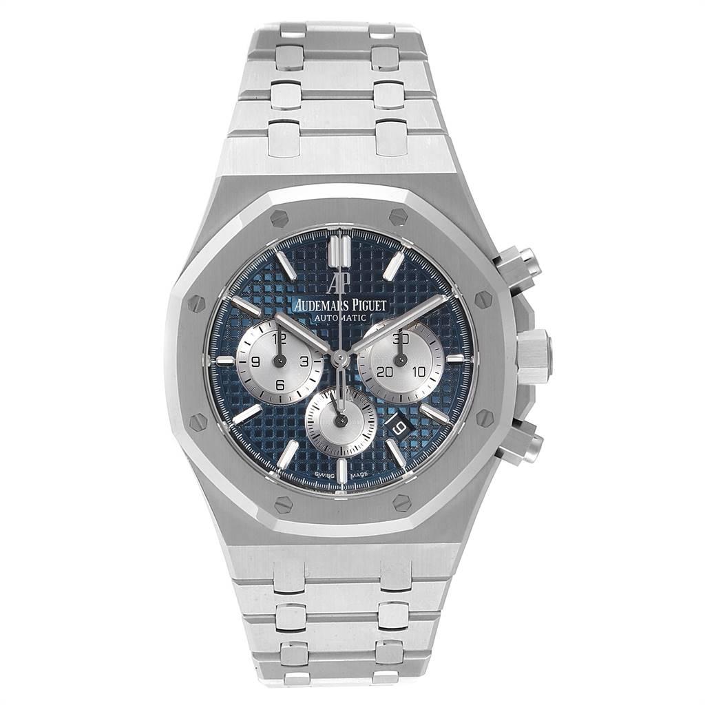 25941 Audemars Piguet Royal Oak Blue Dial Chronograph Mens Watch 26331ST Box Card SwissWatchExpo