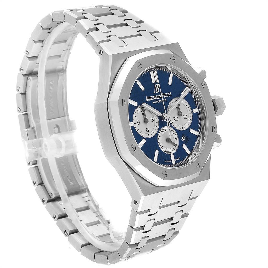 Audemars Piguet Royal Oak Blue Dial Chronograph Mens Watch 26331ST Box Card SwissWatchExpo