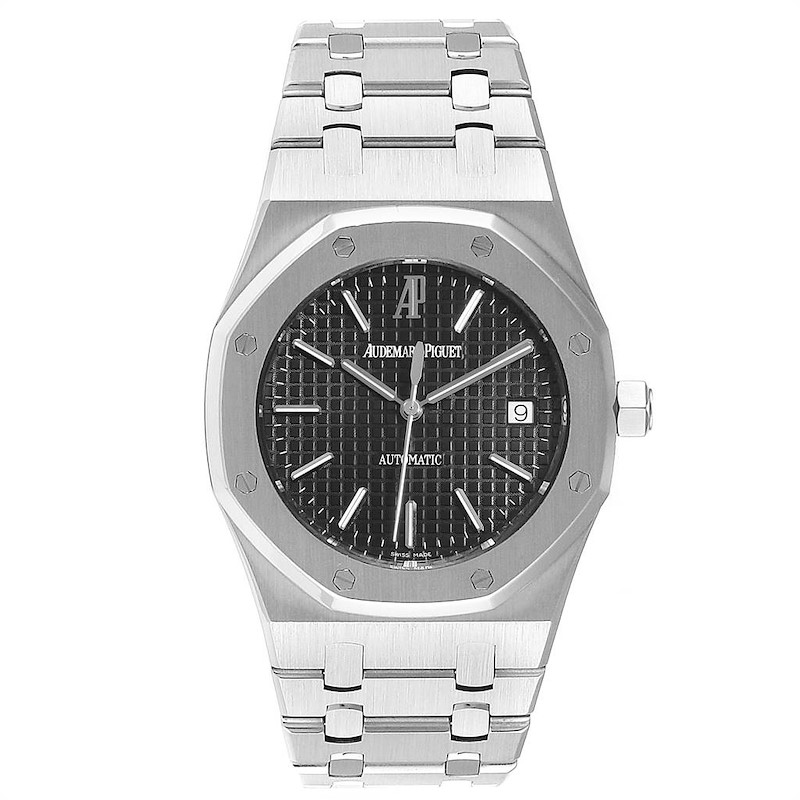 Audemars Piguet Royal Oak Black Dial Steel Mens Watch 15300ST SwissWatchExpo
