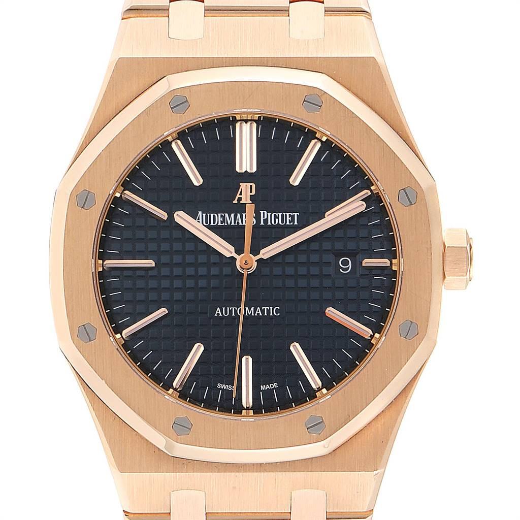 Audemars Piguet Royal Oak 41mm Rose Gold Mens Watch 15400OR Box Papers SwissWatchExpo