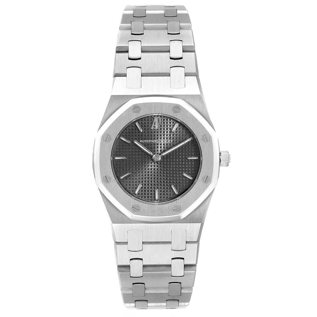 26116 Audemars Piguet Royal Oak Black Dial Steel Ladies Watch 66007ST SwissWatchExpo