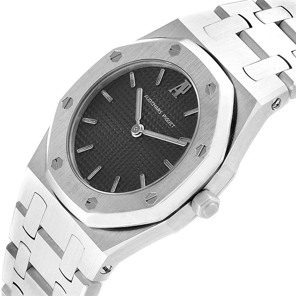 Audemars Piguet Royal Oak Black Dial Steel Ladies Watch 66007ST SwissWatchExpo