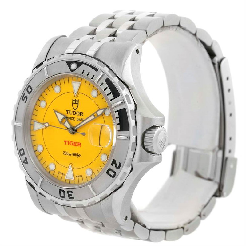 Tudor Prince Date Hydronaut Tiger Yellow Dial Watch 89190 SwissWatchExpo