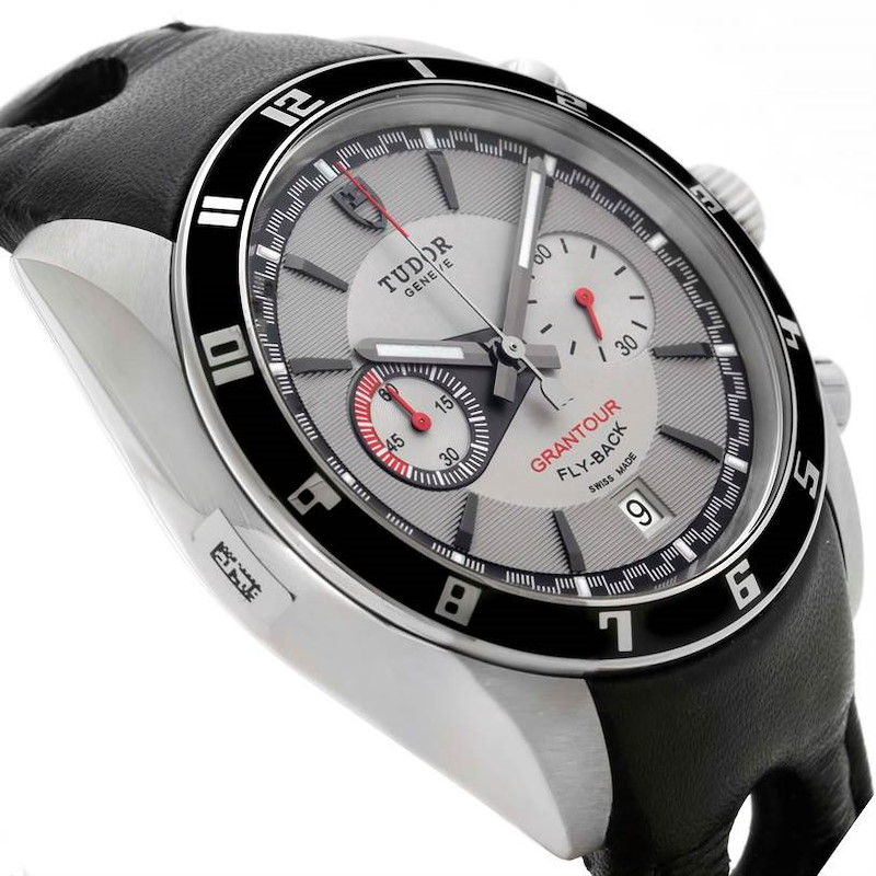 Tudor Grantour Grey Dial Black Leather Strap Steel Watch 20550N Unworn SwissWatchExpo