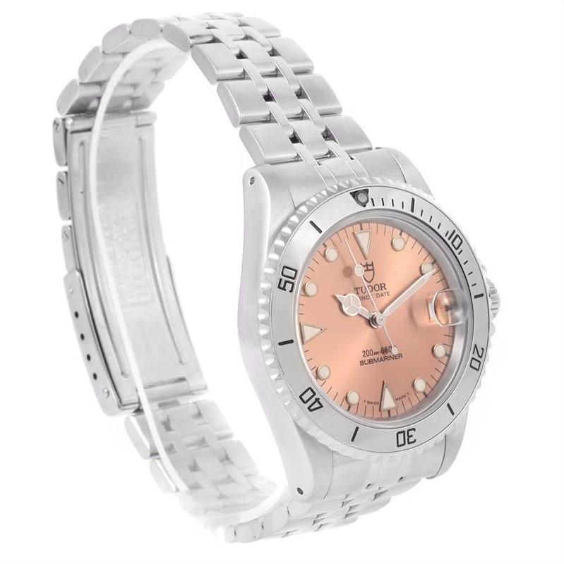 Tudor Submariner Prince Date Salmon Dial Steel Watch 75190 SwissWatchExpo