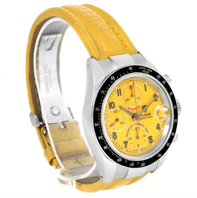 Tudor Tiger Prince Date Yellow Dial Stainless Steel Mens Watch 79260 SwissWatchExpo