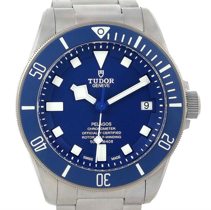 Tudor Pelagos Blue Dial Automatic Titanium Mens Watch 25600 Box Papers SwissWatchExpo