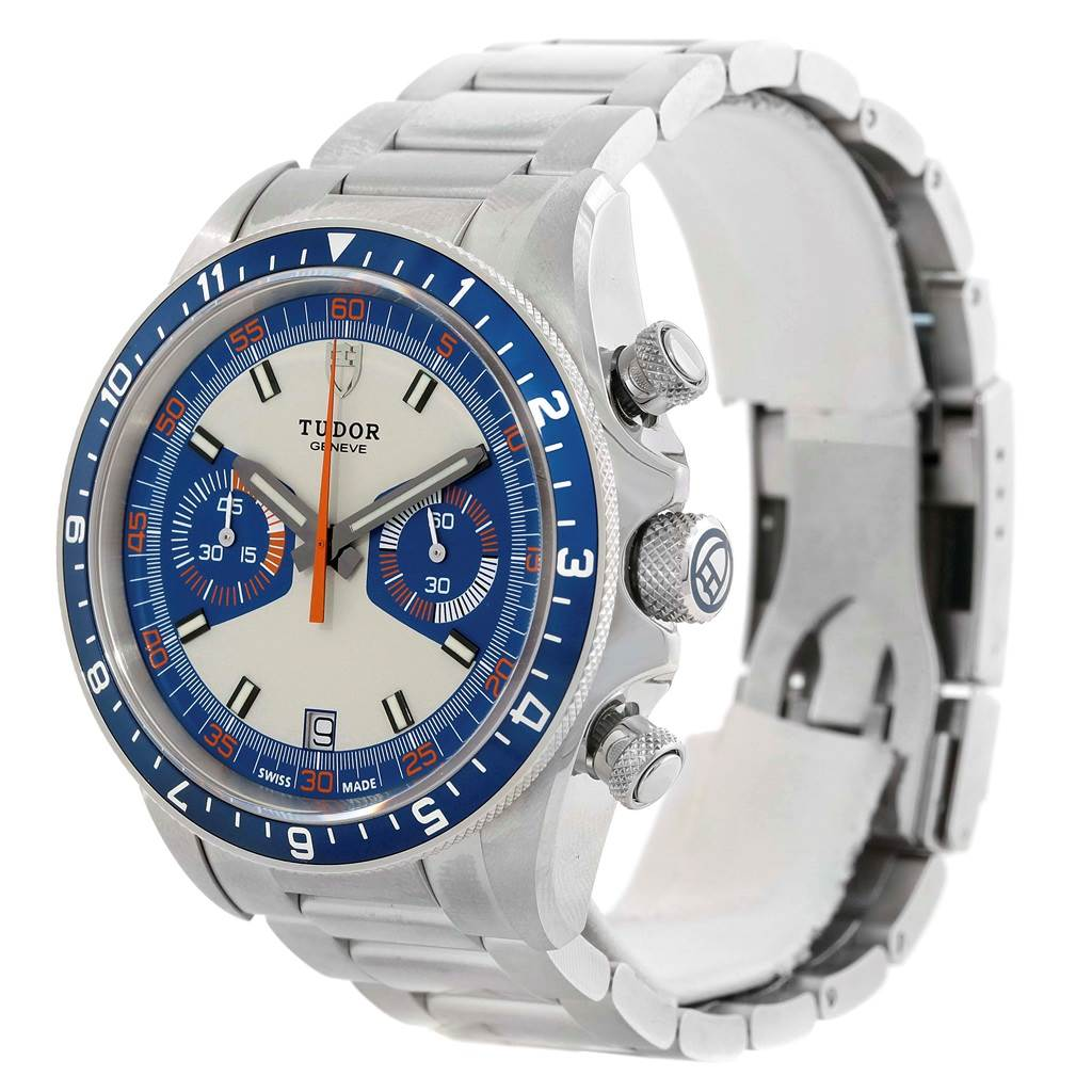 14810 Tudor Heritage Chrono Blue Stainless Steel Mens Watch 70330 Unworn SwissWatchExpo