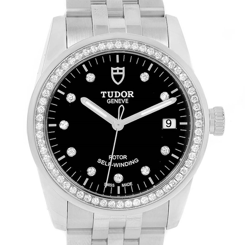 Tudor Glamour 36mm Black Dial Diamond Unisex Watch 55020 Unworn SwissWatchExpo
