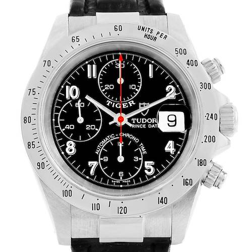Photo of Tudor Tiger Woods Prince Date Black Dial Steel Mens Watch 79280