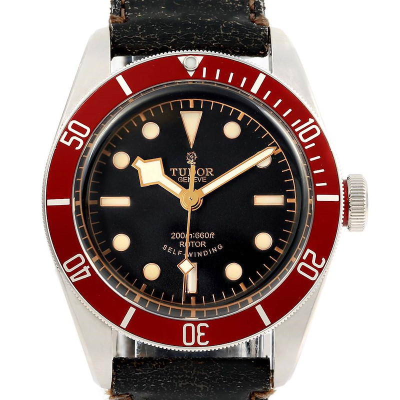 Tudor Heritage Black Bay Steel Leather Strap Watch 79220R Box Papers SwissWatchExpo