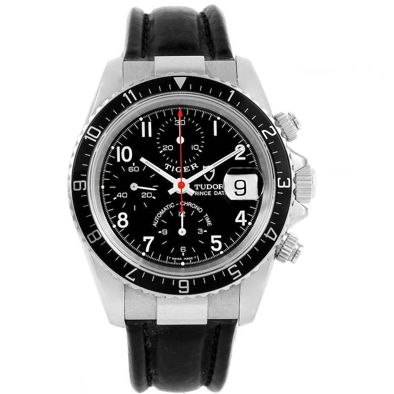 Tudor Tiger Woods Chronograph Black Dial Steel Mens Watch 79260 SwissWatchExpo