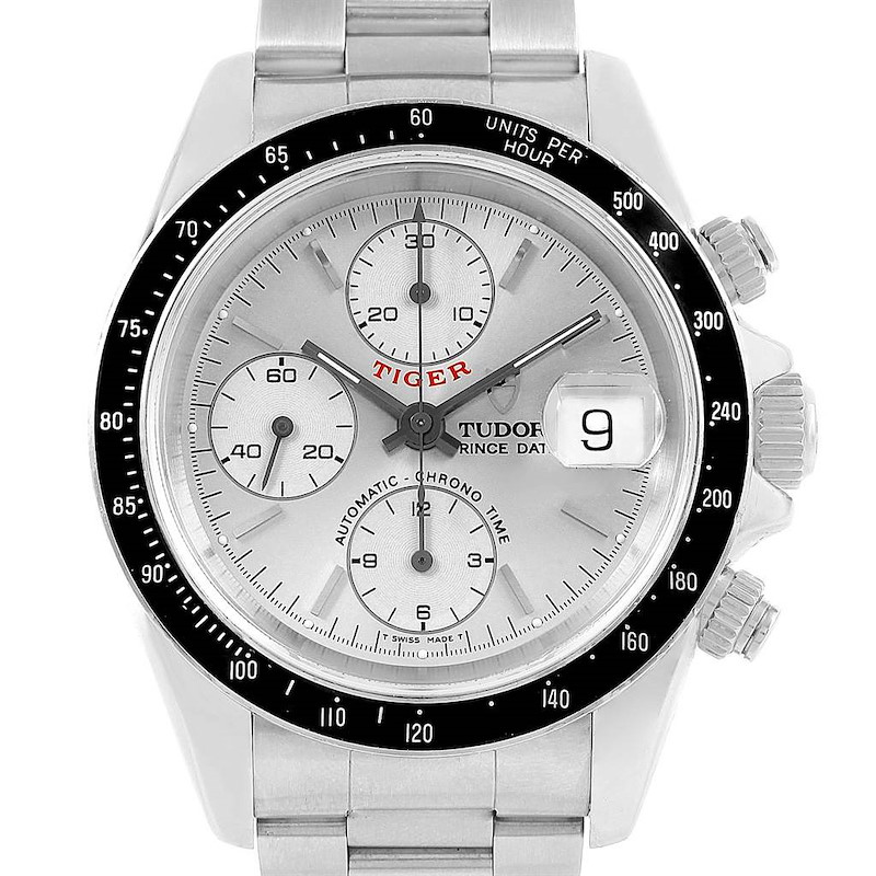 Tudor Tiger Woods Prince Chrono Silver Dial Watch 79260 Box Papers SwissWatchExpo