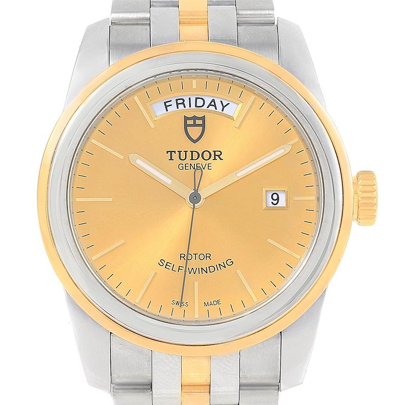 Tudor Glamour Day Date Steel Yellow Gold Mens Watch 56003 Box Papers SwissWatchExpo