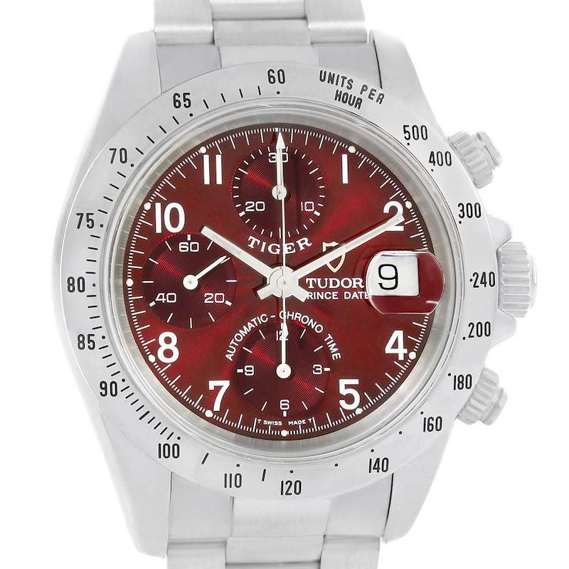 Tudor Prince Tiger Woods Chrono Burgundy Dial Steel Mens Watch 79280 SwissWatchExpo