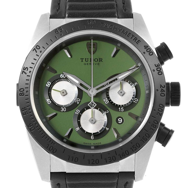 Tudor Fastrider Chrono Green Dial Ceramic Bezel Watch 42010N Unworn SwissWatchExpo